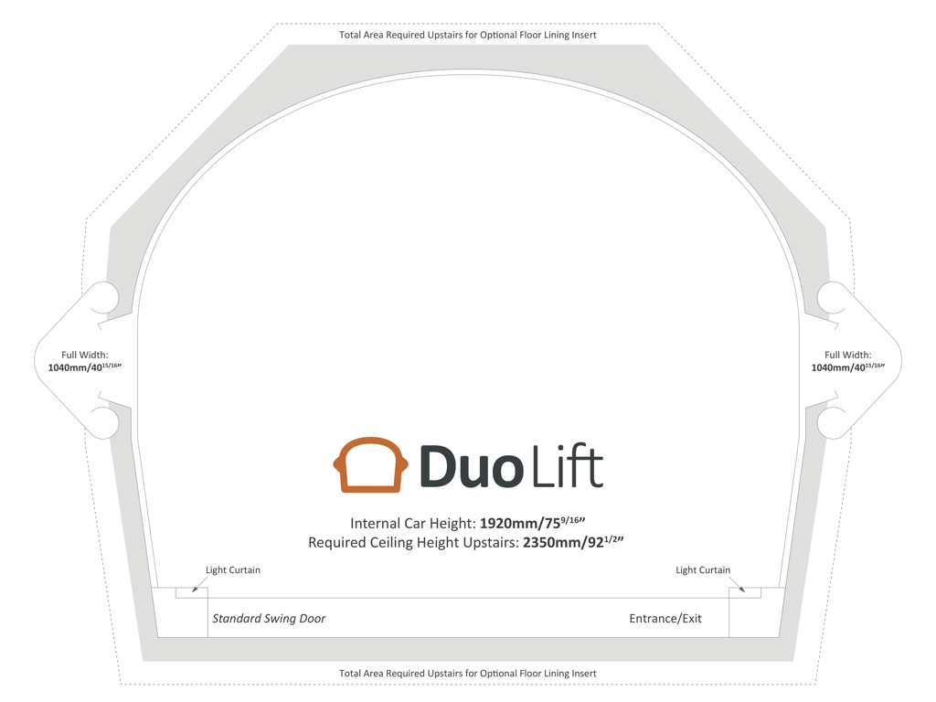 Footprint for the Duo Home Lift